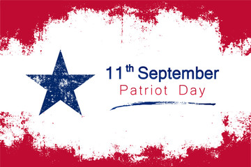 Popular grunge style vector for United State's Patriot day on september 11th with the colors of the country's flag and a star symbol.