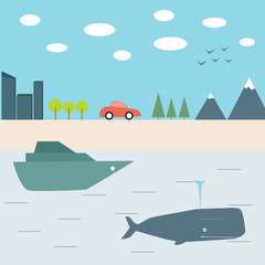 Summer journey by car and boat