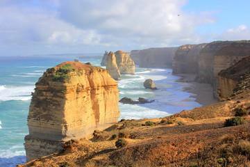 Twelve Apostles seascape along the great ocean road in Australia in morning sunlight