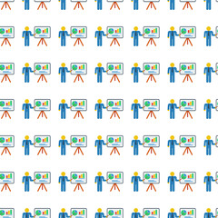 man with graphs seamless pattern. Vector