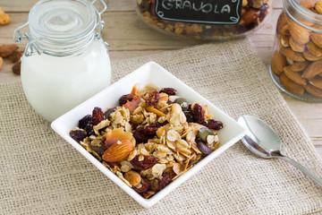 Healthy cereals for breakfast with milk.