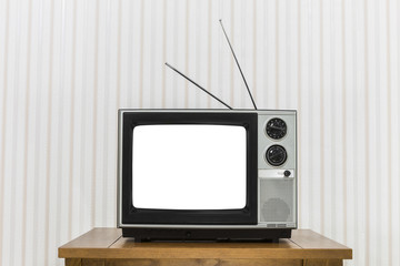 Old Television On Wood Table With White Cut Out Screen