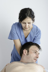 Physiotherapist doing a stretching cervical neck.