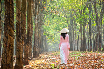 Vietnamese girls with Ao Dai, famous traditional custume for woman in VIetnam.
