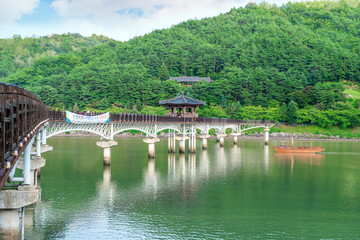 Wooden bridge or Wolyeonggyo bridge in Andong,Korea.