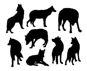 Wolf wild animal silhouettes