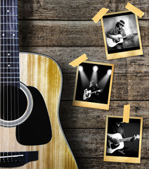 Guitar and guitarist photo photo frame on wood background.