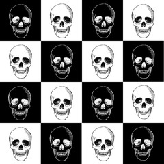Seamless hand drawn pattern with skulls
