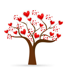 Tree heart love logo vector
