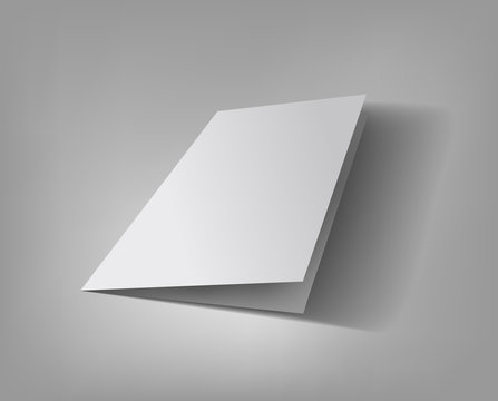 Blank 3d vector Illustration of bifold brochure