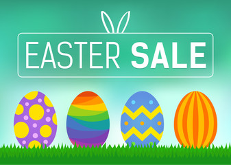 Happy Easter sale promo poster vector display