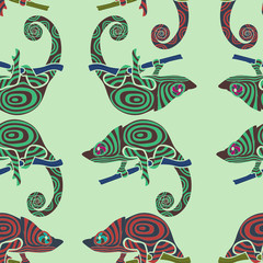Seamless colorful background made of chameleons