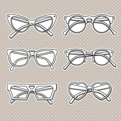 vector sunglasses icons set isolated on white background