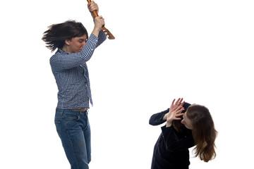 Angry young man with balalaika and woman