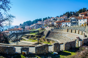 view of the ancient roman theatre in macedonian town ohrid, which belong to the unesco world heritage.