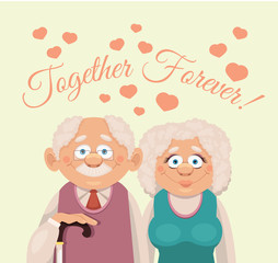 Grandparents. Vector flat illustration