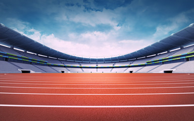 empty athletics stadium with track at panorama day view