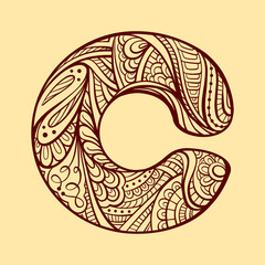 Ethnic hand drawn letter C