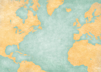 Map of North Atlantic - Blank map (Vintage Series) Wall mural