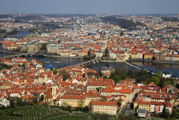Aerial view to the historical center of Prague, Czech republic