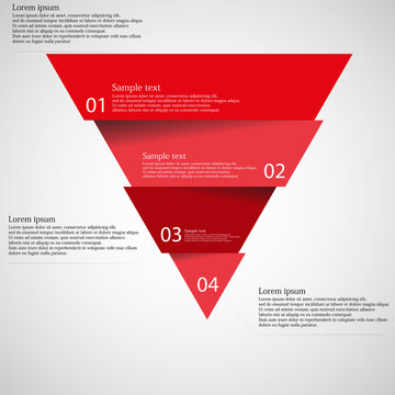 Light illustration inforgraphic with triangle divided to four parts