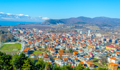 aerial view of unesco world heritage city ohrid in macedonia, fyrom taken from the top of fortress of tzar samuel.