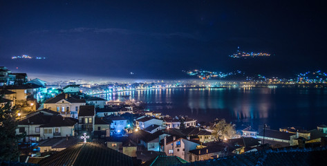 night view over illuminated unesco listed macedonian town ohrid.