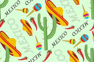 The illustration shows a seamless pattern with symbols of Mexico