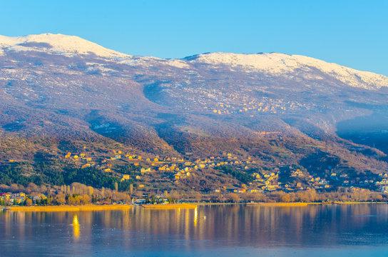 sunset over ohrid lake in macedonia, fyrom.