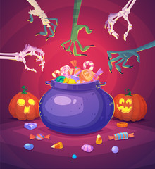 Halloween poster background card. Vector illustration.