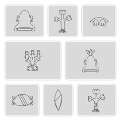 monochrome icon set with aztec pictograms for your design