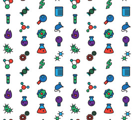 Science icons seamless pattern