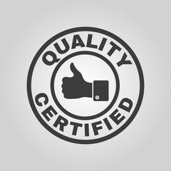 The certified quality and thumbs up icon.  Approval, approbation, certification, accepted symbol. Flat