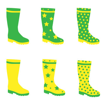 Vector collection of boots with different patterns in yellow and green colors. Set of wellingtons with star and dot texture.