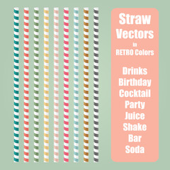 Straw vector set in nine different retro colors with screwed line pattern. Collection of retro color straws.
