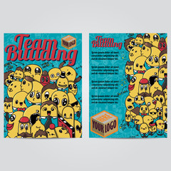 Vector hand drawn doodles team building design banners  cards