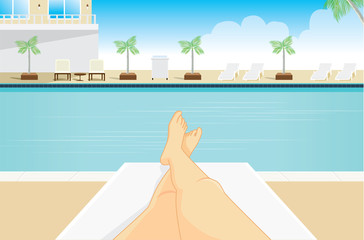 Point view of woman to sunbathing at a resort pool side. Which saw her legs in the picture.