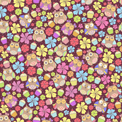 Seamless pattern with owls and flowers and cake on a dark background