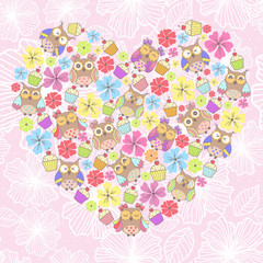 Beautiful card with owls and flowers on a pink background