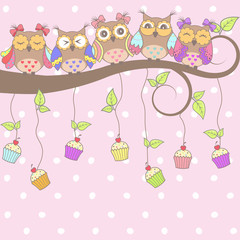 Beautiful card with owls on the tree and cakes on a pink background