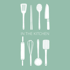 Kitchen utensils. Doodle vector illustration with equipment for cooking