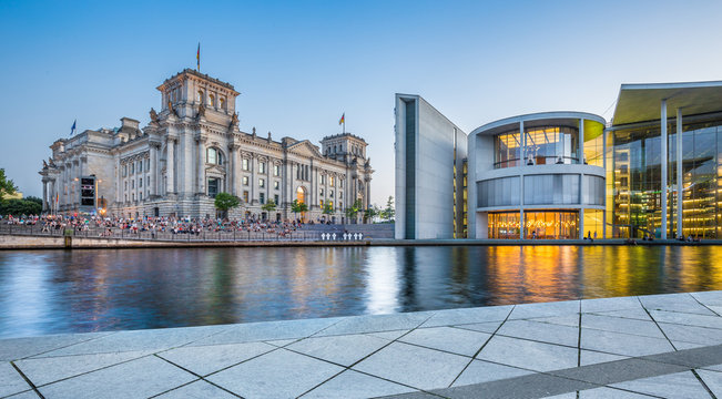 Berlin government district with Reichstag and Paul Löbe Haus at dusk, Germany