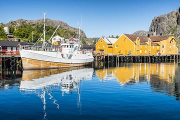 Fishing boat moored in the fishing port. Nusfjorden, Lofoten arcghipelago.