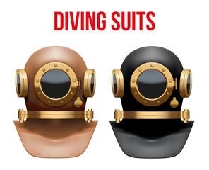 Set of Underwater diving suit helmet.