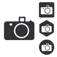 Camera icon set, monochrome