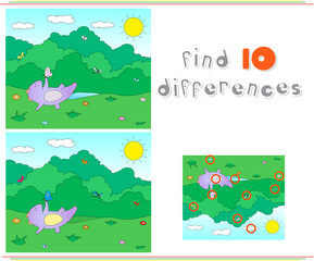 Purple dragon playing on the summer or spring meadow. Educationa