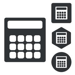 Calculator icon set, monochrome