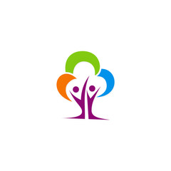 colored tree people ecology logo