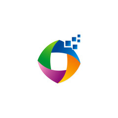 digital technology shape abstract colorful logo