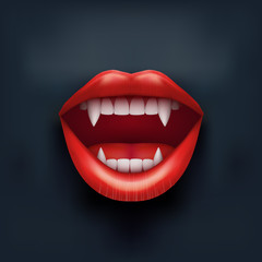 Dark Background of vampire mouth with open lips.